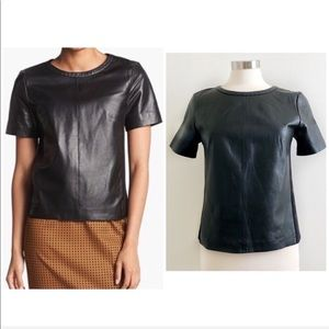 Halogen | Genuine Leather Zipper Back Top